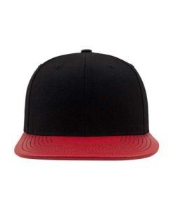 Snapback Cap Metallic Schwarz/Rot 6 Panel - verstellbar Ansicht vorne