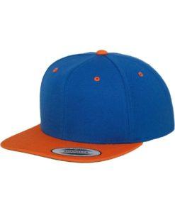 Snapback Cap Classic Blau/Orange 6 Panel - verstellbar