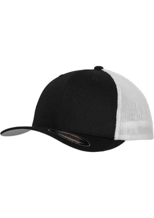 Flexfit Trucker Cap Mesh schwarz/weiß - Fitted