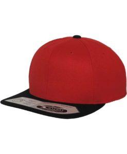 Premium Snapback Cap 110 rot/schwarz 6 Panel - verstellbar