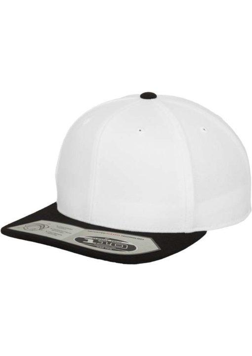 Premium Snapback Cap 110 Weiß/Schwarz 6 Panel - verstellbar