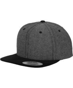 Premium Snapback Cap Grau/Wildleder Schwarz 6 Panel - verstellbar