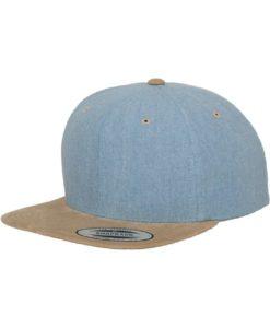 Premium Snapback Cap Blau/Wildleder Beige 6 Panel - verstellbar