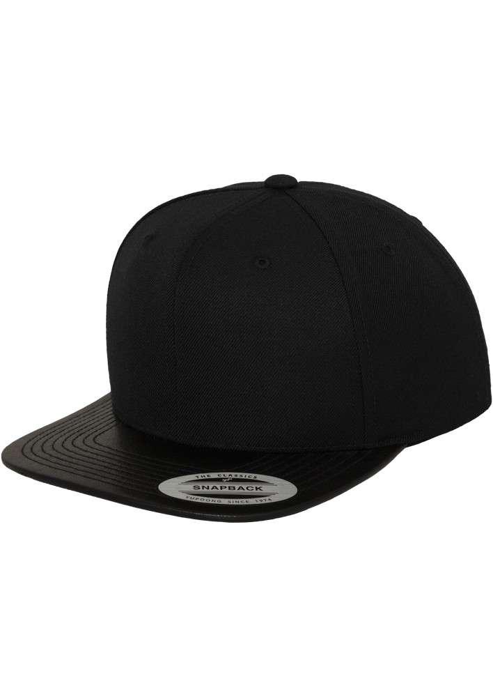 premium snapback cap schwarz mit lederschild 6 panel. Black Bedroom Furniture Sets. Home Design Ideas