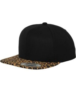 Snapback Cap Animal Schwarz/Leopard 6 Panel - verstellbar