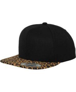 Snapback Cap Animal Schwarz/Leopard 6 Panel - verstellbar