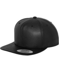 Snapback Cap komplett Kunstleder Schwarz 6 Panel - verstellbar