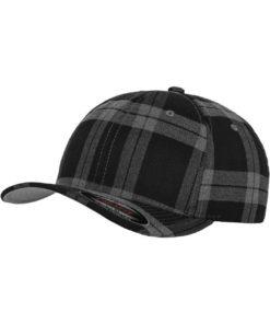 Flexfit Cap Schottenkarro Schwarz/Grau - Fitted
