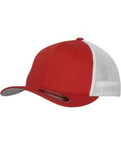Flexfit Trucker Cap Mesh rot/weiß - Fitted