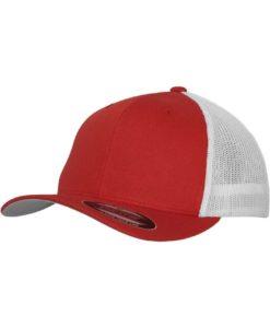 Flexfit Trucker Cap Mesh rot/weiß - Fitted