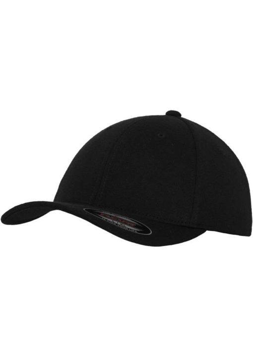 Flexfit Cap Double Strickjersey Schwarz - Fitted