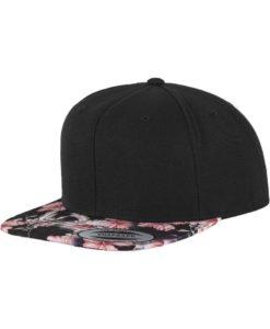 Snapback Cap Floral Pink 6 Panel - verstellbar