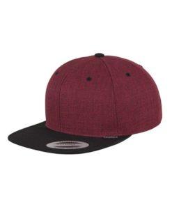 Premium Snapback Cap Melange Rotmeliert/Schwarz 6 Panel - verstellbar