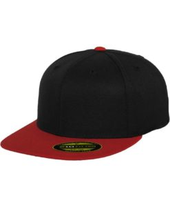 Premium Cap 210 Schwarz/Rot 6 Panel - Fitted