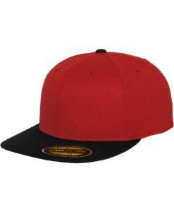 Premium Cap 210 Rot/Schwarz 6 Panel - Fitted