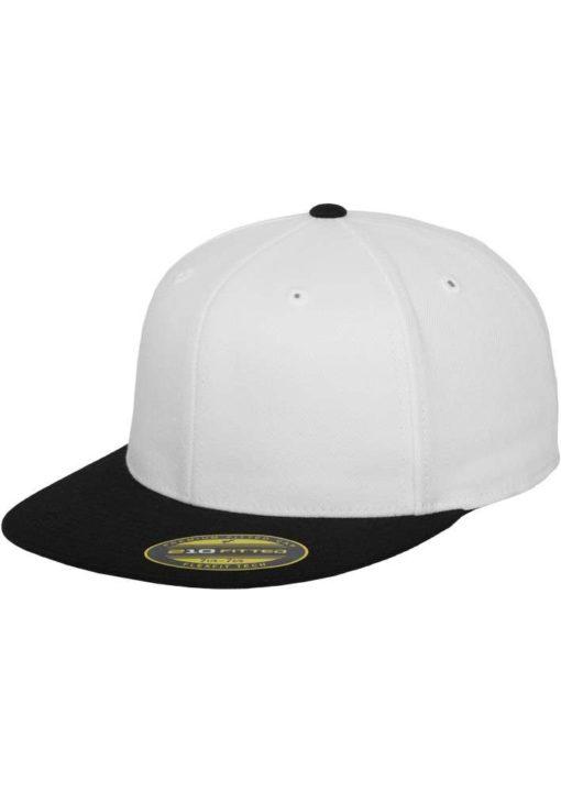 Premium Cap 210 Weiß/Schwarz 6 Panel - Fitted