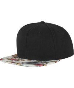 Snapback Cap schwarz/floral - verstellbar