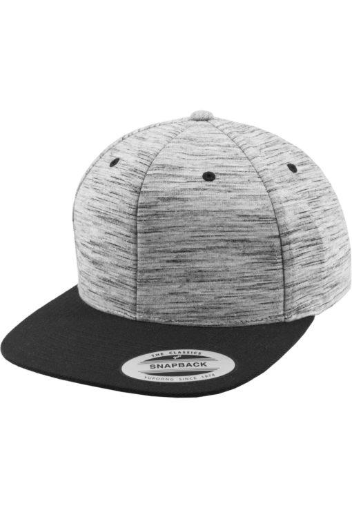 Snapback Cap Melange/Schwarz 6 Panel - verstellbar