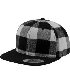 Premium Snapback Cap Flanell Schwarz/Weiss 6 Panel - verstellbar