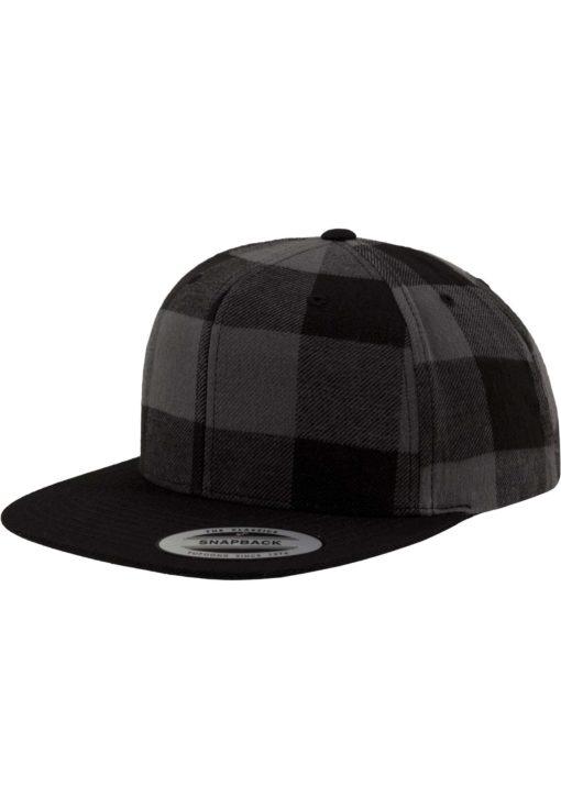 Premium Snapback Cap Flanell Schwarz/Grau 6 Panel - verstellbar