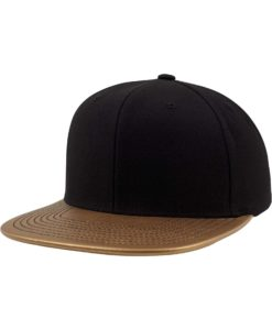 Snapback Cap Metallic Schwarz/Gold 6 Panel - verstellbar