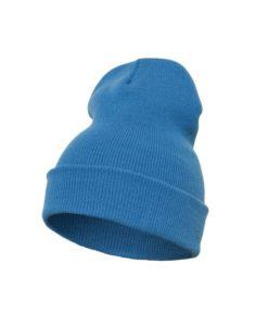 Lange Beanie Wollmütze Hellblau