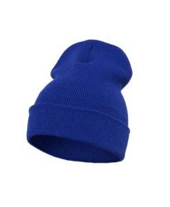 Lange Beanie Wollmütze royalblau