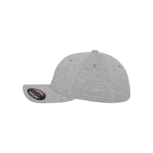 Flexfit Cap Double Strickjersey Graumeliert - Fitted Seitenansicht links