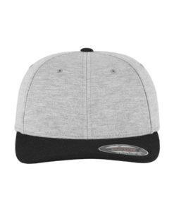 Flexfit Cap Double Strickjersey Graumeliert/Schwarz - Fitted Ansicht vorne