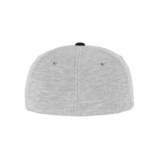 Flexfit Cap Double Strickjersey Graumeliert/Schwarz - Fitted Ansicht hinten