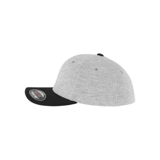 Flexfit Cap Double Strickjersey Graumeliert/Schwarz - Fitted Seitenansicht links