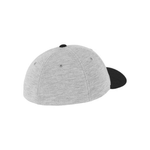 Flexfit Cap Double Strickjersey Graumeliert/Schwarz - Fitted Seitenansicht hinten