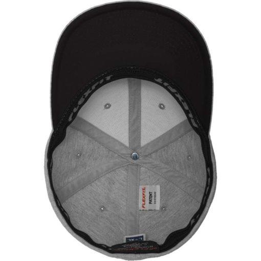 Flexfit Cap Double Strickjersey Graumeliert/Schwarz - Fitted Ansicht innen