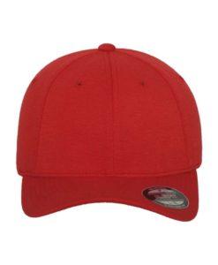 Flexfit Cap Double Strickjersey Rot - Fitted Ansicht vorne