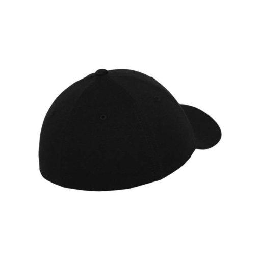 Flexfit Cap Double Strickjersey Schwarz - Fitted Seitenansicht hinten