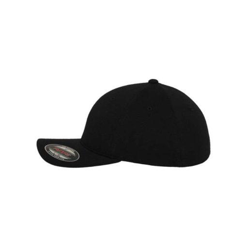 Flexfit Cap Double Strickjersey Schwarz - Fitted Seitenansicht links