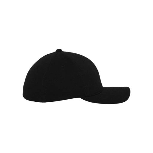 Flexfit Cap Double Strickjersey Schwarz - Fitted Seitenansicht rechts