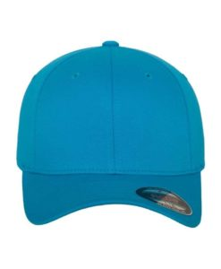 Flexfit Cap Ozeanblau Wooly Combed flauschig gekämmt Fitted vordere Ansicht
