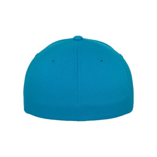 Flexfit Cap Ozeanblau Wooly Combed flauschig gekämmt Fitted hintere Ansicht