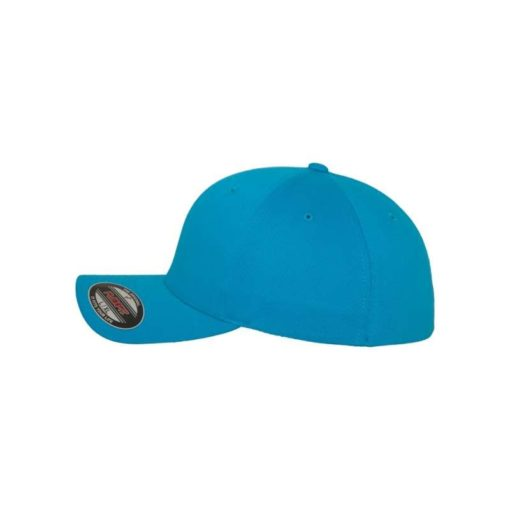 Flexfit Cap Ozeanblau Wooly Combed flauschig gekämmt Fitted linke Ansicht