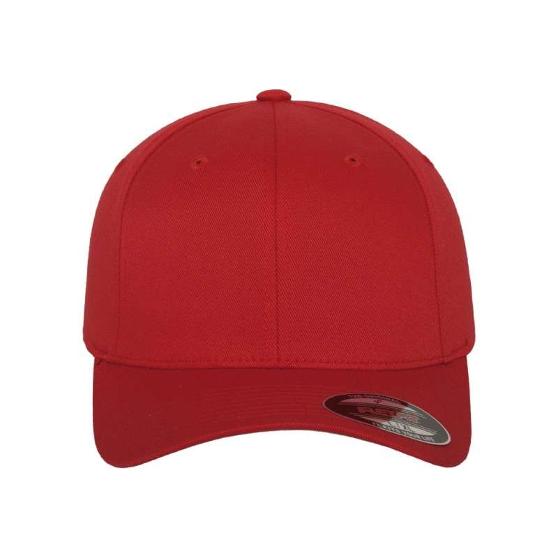 e0a9750806a8 Premium Flexfit Wooly Combed   Rot   6 Panel   Fitted - styleyourcap®