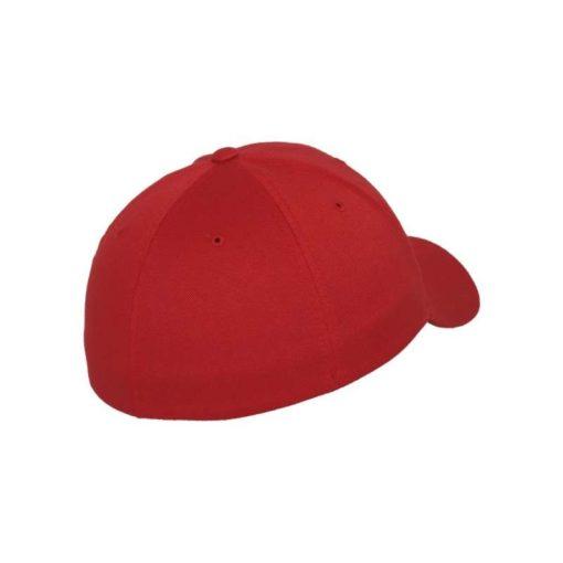 Flexfit Cap Rot Wollmischung - Fitted Seitenansicht hinten