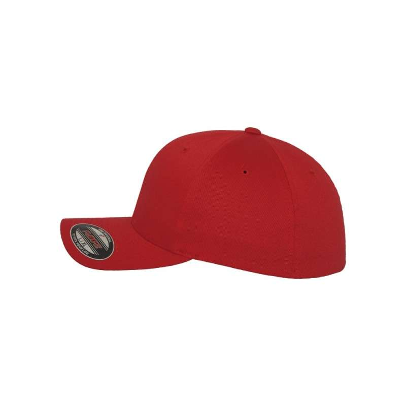 51c5dda73683 Premium Kinder Flexfit Wooly Combed   Rot   6 Panel   Fitted ...