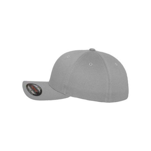 Flexfit Cap Silber Wollmischung - Fitted Seitenansicht links