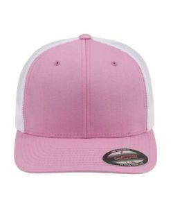 Flexfit Cap Trucker Mesh Pink/Weiß - Fitted Ansicht vorne