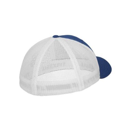 Flexfit Trucker Cap Mesh blau/weiß - Fitted Seitenansicht hinten