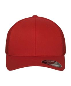 Flexfit Trucker Cap Mesh rot 6 Panel - fitted Ansicht vorne