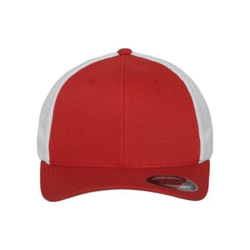 Flexfit Trucker Cap Mesh rot/weiß - Fitted Ansicht vorne