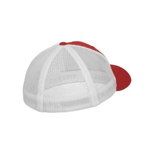 Flexfit Trucker Cap Mesh rot/weiß - Fitted Seitenansicht hinten
