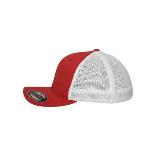 Flexfit Trucker Cap Mesh rot/weiß - Fitted Seitenansicht links